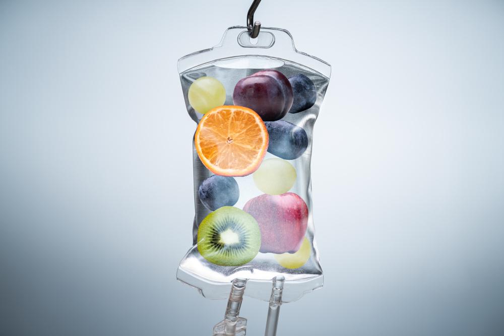 iv bag filled with fruit
