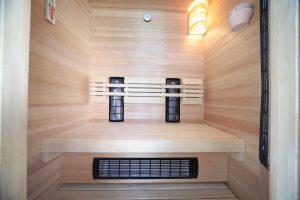 Empty Sauna room turned on